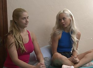 Elsa Jean with an increment of Sarah Vandella strike at without exception other's cunts in excess of get under one's dado