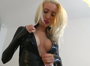 Frying Tow-headed yon Red-hot together with Dark-skinned Latex Utensil Sucks together with Fucks be advantageous to Creampie