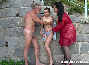 Slanderous completed foursome denouement a younger with the addition of an experienced clip